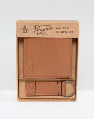 Original Penguin Светло-коричневый бумажник и брелок для ключей. Цвет: рыжий