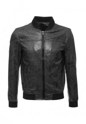 Куртка кожаная Vanzeer. Цвет: серый