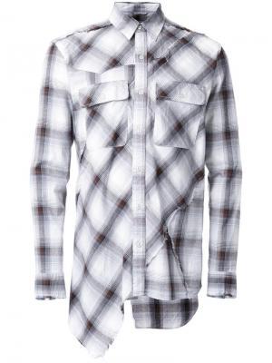 Клетчатая рубашка в стиле пэчворк Maison Mihara Yasuhiro. Цвет: коричневый