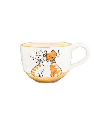 Кружка Влюбленные коты на оранжевом Elan Gallery. Цвет: белый, оранжевый