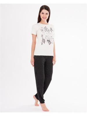 Комплект одежды: футболка, брюки Mark Formelle. Цвет: черный, молочный
