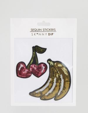 Skinnydip Нашивки с пайетками в виде бананов и вишен. Цвет: розовый