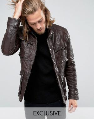 Black Phoenix Коричневая кожаная куртка с 4 карманами и эффектом поношенности. Цвет: коричневый