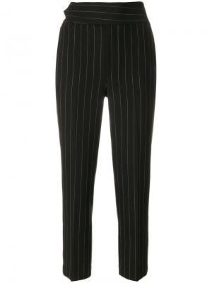 Укороченные брюки в полоску Ganni. Цвет: чёрный