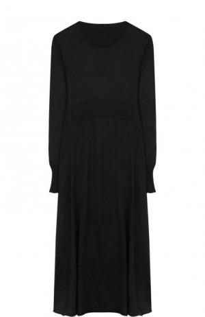 Приталенное вязаное платье-миди с длинным рукавом Maison Margiela. Цвет: черный