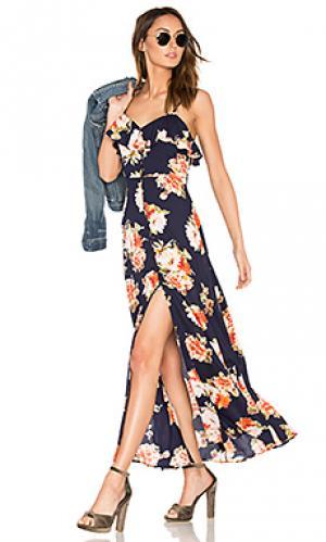 Цветочное мини платье на пуговицах спереди Band of Gypsies. Цвет: синий
