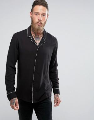 AllSaints Рубашка в пижамном стиле. Цвет: черный