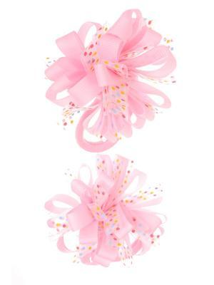 Банты из ленты на резинке в разноцветный полупрозрачный горох, светло-розовый, набор 2 шт Радужки. Цвет: бледно-розовый