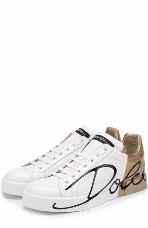 Кожаные кеды Portofino с принтом Dolce & Gabbana. Цвет: золотой