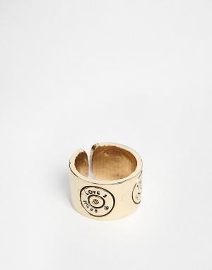Love Bullets Кольцо с выгравированной пулей Lovebullets. Цвет: золотой
