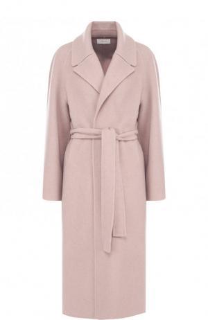 Однотонное кашемировое пальто с поясом The Row. Цвет: светло-розовый