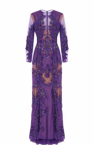 Платье-макси с вышивкой Zuhair Murad. Цвет: фиолетовый
