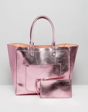 River Island Пляжная сумка-тоут и кошелек эффектом металлик. Цвет: розовый