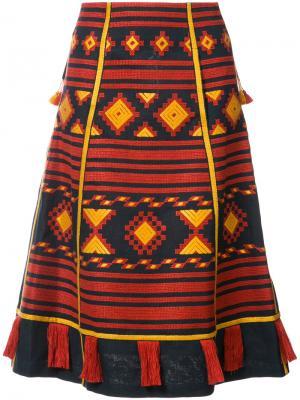 Юбка-миди с вышивкой Croatia Vita Kin. Цвет: синий