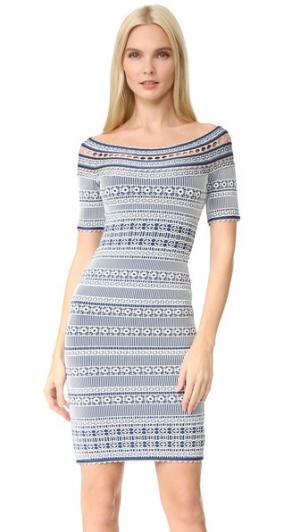Платье Lacey Herve Leger. Цвет: алебастр/королевский синий