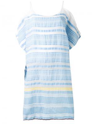 Полосатое платье с открытыми плечами Lemlem. Цвет: синий