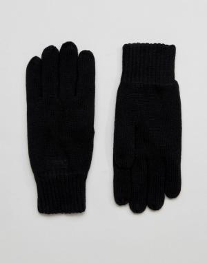 Selected Homme Черные перчатки Leth. Цвет: черный