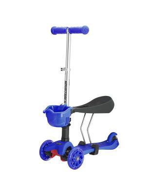 Самокат-кикборд Novatrack Disco-kids, детский трансформер, max 40кг, мигающие колеса, темно-синий. Цвет: темно-синий