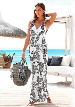 Платье макси Lascana. Цвет: черный с принтом пейсли