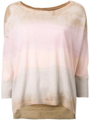 Выбеленная полосатая футболка Raquel Allegra. Цвет: розовый и фиолетовый