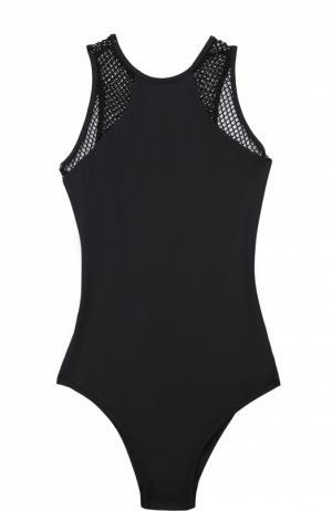 Слитный купальник с открытой спиной и перфорированными вставками Melissa Odabash. Цвет: черный