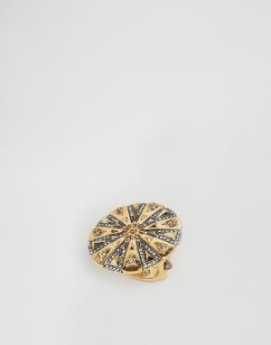 House of Harlow Гравированное кольцо. Цвет: золотой