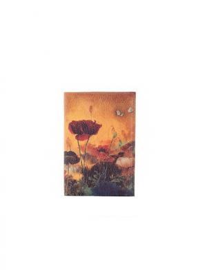 Обложка на паспорт Маковое поле Eshemoda. Цвет: рыжий