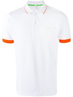 Рубашка-поло с контрастной окантовкой Sun 68. Цвет: белый