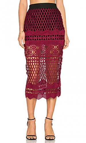 Кружевная юбка-карандаш с вырезом self-portrait. Цвет: вишня