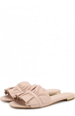 Кожаные сабо Bella с оборками MICHAEL Kors. Цвет: светло-розовый