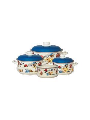 Набор посуды 7 предметов (2,0л, 3,5л, 5,5л + ковш 1,5л в подарок), мет.крышки METROT. Цвет: молочный, желтый, синий