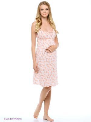 Сорочка женская для беременных и кормящих Hunny Mammy. Цвет: персиковый, оранжевый