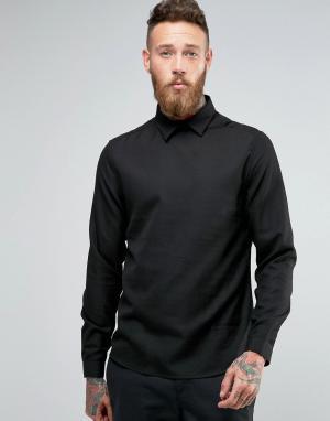 Hoxton Shirt Company Рубашка узкого кроя без застежки. Цвет: черный