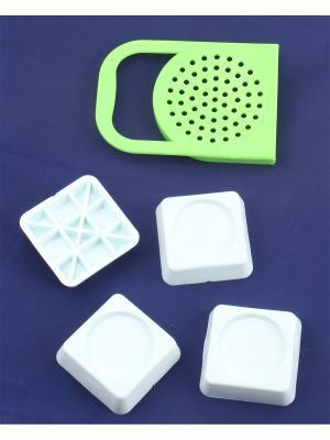 Крышка для слива с ручкой и подставки антивибрационные стиральных машин холодильников Радужки. Цвет: зеленый, белый