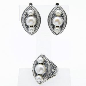 Комплект трио жемчуг Бусики-Колечки