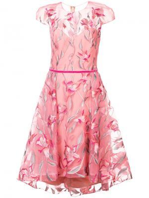 Расклешенное платье с цветочной вышивкой Marchesa Notte. Цвет: розовый и фиолетовый