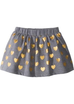 Трикотажная юбка с металлизированным принтом (серый меланж/золотистый) bonprix. Цвет: серый меланж/золотистый