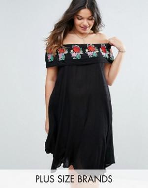 Diya Платье с открытыми плечами и вышивкой на оборке Plus. Цвет: черный