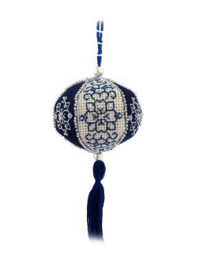 Набор для изготовления подвески Новогодний фонарик ZENGANA. Цвет: темно-синий, серебристый, белый