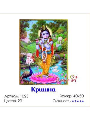 Живопись на холсте Кришна + диск в подарок MantraArt. Цвет: белый