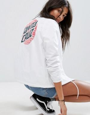 Santa Cruz Спортивная куртка с принтом на спине. Цвет: белый