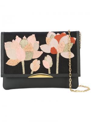 Сумка на плечо с вышитыми цветами Lizzie Fortunato Jewels. Цвет: чёрный