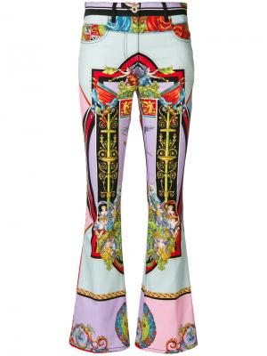 Angel print flared trousers Versace. Цвет: многоцветный