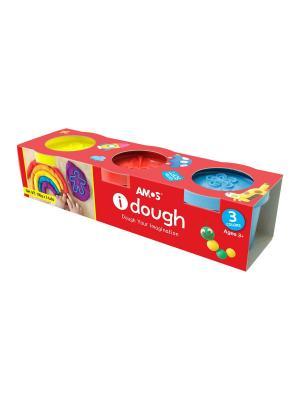 Тесто для лепки  в баночках 3 цвета AMOS. Цвет: красный