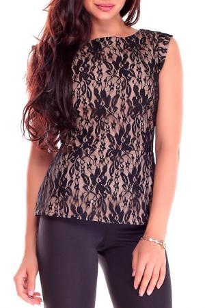 Блуза Laura Bettini. Цвет: бежевый, черный