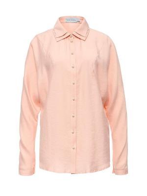Блуза на пуговицах с кружевным воротником персиковая Bella kareema. Цвет: персиковый