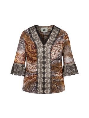 Блуза KR. Цвет: коричневый, бежевый