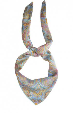 Шелковый платок с принтом Michele Binda. Цвет: голубой