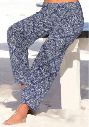 Пляжные брюки. Цвет: темно-синий с рисунком