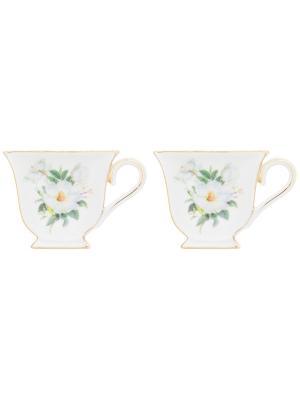 Набор из 2-х подставок под чайный пакетик Белый шиповник Elan Gallery. Цвет: белый, зеленый